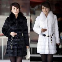 New 2014 Women Plus Size S M L XL XXL 3XL 4XL 5XL High Quality Luxury Long Design Faux Mink Fur Coat With Fox Fur Collar