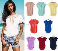 2014 Casual Chiffon Rock T-Shirt Tees Blouse Blusas Bordadas Feminina Women T-Shirts Short Solid Hollow Out Blouses Chifon Shirt