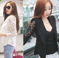 Free shipping blazer women plus size blazer fashion Slim women suit blaser black and white lace coat women 2014 3size NZ-0104