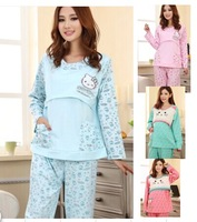 8ag Spring autumn  maternity pregnant cotton suit cartoon pajamas Nursing Wear long-sleeved dress maternal month sleep wear