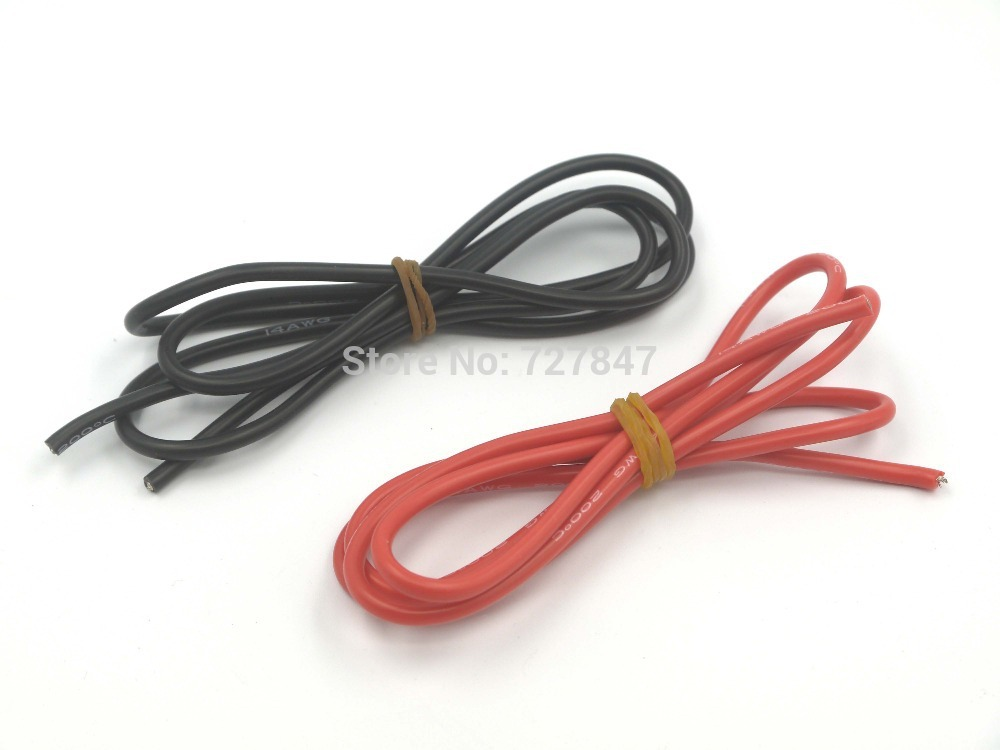 1meter Red+1meter Black 14# 14 AWG 14AWG Heatproof Soft Silicone Silica Gel Wire Connect Cable For RC Model Battery Part WOW-34(China (Mainland))