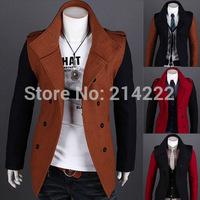 Wholesales Men's Long Sleeve Autumn Lapel Collar Woolen Trench Coat Full Length ,Man's Casual Winter Outdoors Jackets Overcoats
