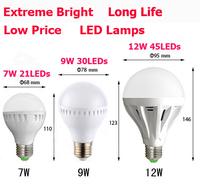 1pcs LED Bubble Ball Bulb LED Globe Bulb E27 7W 9W 12W AC85-265V LED Globe Lights Bulbs Lamps