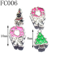 8mm or 10mm Vogue Enamel Alloy Flowers Floating Charms,Fashion Christmas Tree Floating Charms,Free Shipping 50pcs/lot