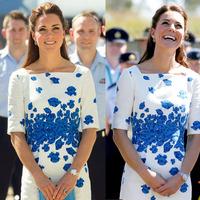 2014 kate Middleton Dress Blue Flower Printing Dress Women's Dress OL Slim Summer Dress 1413