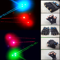 New arrived RGB Laser Gloves With 7pcs Laser 2pcs Green +3PCS Red +2PCS Violet Blue Stage Gloves for DJ Club/Party Show