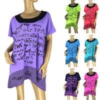 2014 Summer Hot European style Fashion Casual loose Short-sleeved t-shirt Letter O-Neck Long t-shirt Women Big size 450