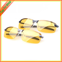 New 2014 Mens Polarized Day And Night Driving Sunglasses Brand Yellow Lense Night Vision Driving Glasses Goggles Reduce Glare