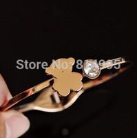 14k rose gold bear&crystal  bangles