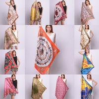 OVO! 2014 Big Size 90x90cm Silk Square Scarf Women Fashion Brand High Quality Imitated Silk Satin Scarves Shawl Hijab 20 Style!