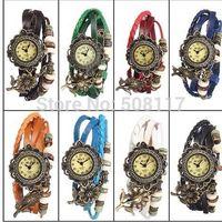 DHL free shipping to USA 60pcs/lot Promotional women dress vintage retro wrap bracelet watch relogio women ladies wrist watches