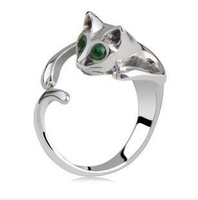 Wholesale 18K White Gold Plated Austrian Crystal Rings,Fashion Cat Rings,Fashion Wedding Jewelry,