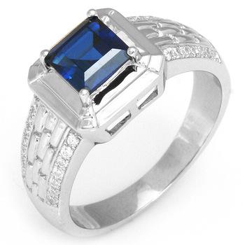 новый 2014 биёутерия 1.5ct высокое качество синий сапфир обручальные кольца для шарм муёчин подлинной 925 твердых стерлингов ленты набор