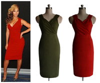 2014 designer sexy women v neck red knee length short sexy party dresses Big size available D5068 2 version