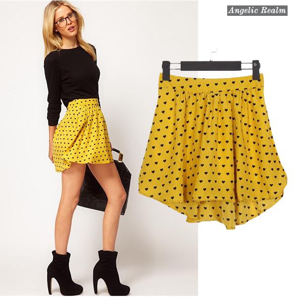 AliExpress.com Product - The new 2014 summer western elastic waist is irregular hem Chiffon hearts printed skirts yellow short skirt size S M L