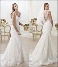 popular queen anne neckline wedding dress