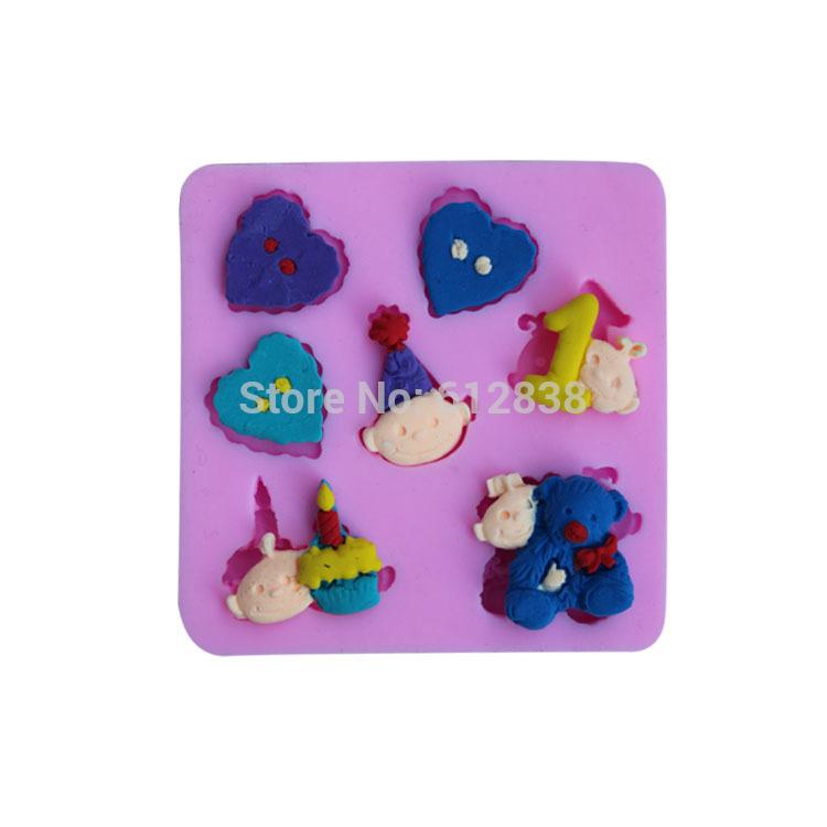 Criança bonito mold coração urso e 1 forma moldes de silicone moldes para o bolo decorações de natal cookie cutter(China (Mainland))