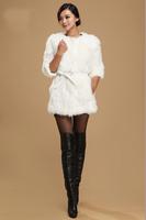 New Genuine Real Genuine Natural rabbit fur coat women rabbit fur winter fur waistcoats custom big size Free Shipping FP258