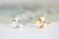 New Fashion 18K Gold Silver Plated Fox Ring Boho Chic  Unique Adjustable Couple rings Mid Finger Ring Men Free Shipping