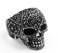 Size 8-12 Free Shipping Wholesale Men's Black Garden Flower Skull Ring Punk 316L Stainless Steel Jewelry