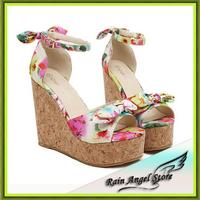 2014 New Fashion Open Toe Platform Women Sandals Sweet Elegance Minimalist Wood Bow Floral Print Sandals