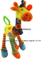 2014 Giraffe Baby Toys Rattles Mobile Cotton Animal Plush Toys  Infant Car/Bed Hanging With sound paper&BB device&teether 1pcs