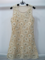 2014 Summer New Arrival Fashion girls dresses  Handmade Lace Hollow  flower  sundress 4colors 6T-12T 4PCS/LOT
