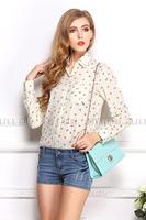 Women's Anchor Print Plus Size Loose Chiffon Blouses Turn-Down Collar Summer Autumn Button Down Shirts Top  For Women 0910