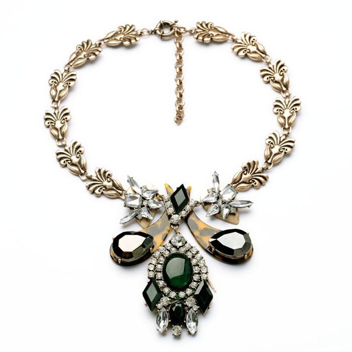 N00844 Fashion Costume Jewelry Vintage Gold Flowers Chain Unique Wholesale Resin Pendant Necklaces Women Fashion Accessoires(China (Mainland))