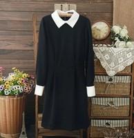 Fashion Star Style Dress Slim Elegant Turn-down Collar Long Sleeve Black Dresses for Women free shipping#5819