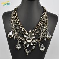 2014 New Arrival Luxury black gold Chain Fashion Necklace Wholesale Shourouk Chunky Choker Statement Necklace & Pendant Women s1