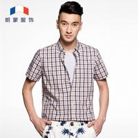 free shipping promotioan 100% cotton high quality plaid 2014 brand casual short sleeve shirts men slim checks dress shirts