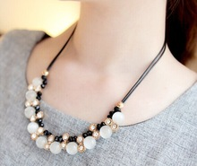 Artificial gemstone beads rope chain choker necklace/kpop fashion cute jewelry womem accessories wholesale/collier/colar/bijoux