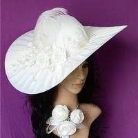 Now 2014 wedding hat Wedding Veils One-layer Cotton  Fashion Women's Hats Satin Handmade wedding hats white church hats