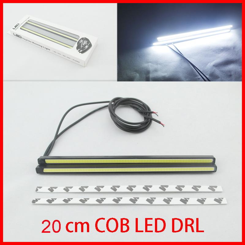 Ultra-thin 15W COB Chip New update 20 cm LED Daytime Running Light 100% Waterproof LED DRL Fog car day running lights(China (Mainland))