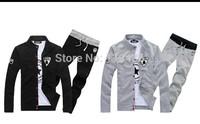 Men hoodies Sweatshirts Autumn Winter Bull Casual Sport Jacket For men's Coat Outerwear Set Sport Men Bull Jacket + pant  CMR43