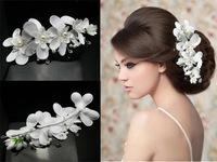 2014 Limited Frozen Kill Headband Bridal Flowers Orchid Comb with Pearl Crystal Bridesmaid Wedding Headdress Hair Accessories