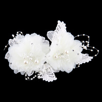 adult rushed headband hair band bridal chiffon fabric female portrait photographs diamond tassel flower tiaras floral cotton