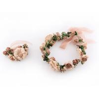new Head ring bracelet sets wedding bouquet hair band petals wedding accessories  styling loop simulation bride headdress flower