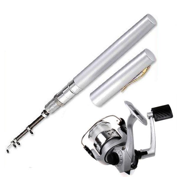Mini Aluminum Alloy Pocket Pen Fishing Rod Pole w/ Reel with Line Silver(China (Mainland))