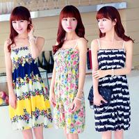 Fashion Summer Chiffon 21 Colors Girl Dress Casual Cute Mini Spaghetti Straps Sunbeach Flower Pattern Dresses Woman Clothes106