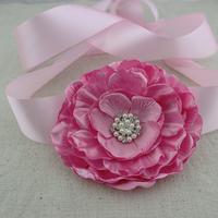 1pcs Large handmade pink  flower sash, pink satin fabric floral belt, baby girl flower sash ,photography props