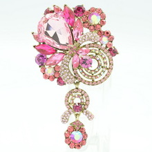 2015 Vintage Style Black Crystals Rhinestone Drop Brooches Bouquet Flower Brooch Broach Pin for Women Accessories