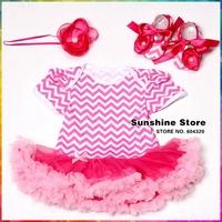 Girls Chevron Dress Rhinestone Headbands Baby Shoes Set,Roupas Bebe,Conjunto Infantil Menina,Non Slip Zapatos,#7A5344 3 set/lot