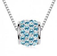 Wholesale fashion white gold plated Austrian Crystal Ball rhinestone necklace pendant 1J12