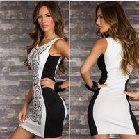 2014 Summer New Sexy Women Floral Print Patchwork Mini Vest Sheath Bodycon Dress Vestidos, White, M, L