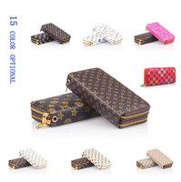 2014 new fashion women / men wallet PU leather long design Double zipper Big wallets purses cards bags
