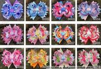 2pcs Retailing 5.5'' Frozn hair bow clips,Elsa Anna Sophia Peppa Pig Stacked Hair Bow Princess Hair Clip