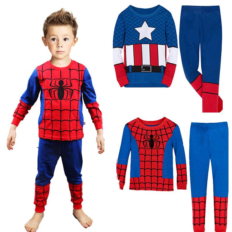 New 2015 Spiderman Pijamas Kids pajamas Long Sleeve Cartoon superman pijama Infantil Pyjamas set for Boys COSPLAY clothes APS010(China (Mainland))