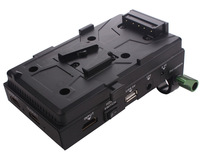 Lanparte V-mount Battery Pinch, DSLR Power Supply Battery Plate with V-lock, HDMI Splitter & 15mm Rods Clamp